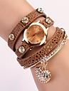 C & D mode de robe de femmes montres en forme de coeur pendentif diamant bracelet en cuir montres xk-74