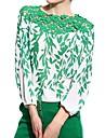 Femei Bluză Casul/Zilnic Simplu(ă),Floral Manșon Lung Toate Sezoanele-Verde Subțire Poliester