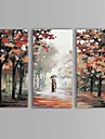 iarts®oil måla landskap par promenad i regnet med sträckt ram uppsättning av tre handmålade duk