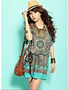 Women\'s Bohemian Print Dress,Round Neck Short Sleeve