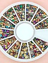 1200PCS Mixed Size 3D Round Colorful Alloy Studs Wheel Nail Art Decoration