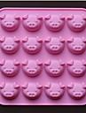 Forma de porc 16 găuri mucegai forme de ciocolata tort, silicon 17,5 × 17,5 × 1,5 cm (6,9 × 6,9 × 0,6 inch)