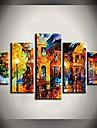 pintura a oleo brilhante luzes de rua paisagem pinturas com esticada conjunto de quadros de 5 telas pintadas a mao