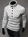 Le mode de cou de tortue lesen hommes mince decoration simple boutonnage longues occasionnels tricots a manches o