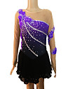 Girl\'s Purple and Black Spandex Long Sleeve Figure Skating Dress(Assorted Size)