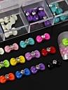 100st mix färg harts bowtie med strass tillbehör som inte ingår box 3d nail art dekoration