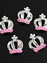 10st rosa pärla krondesign silver 3d legering nail art dekoration