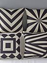 Set of 4 Modern Geometric Cotton/Linen Decorative Pillow Cover