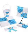 5 Collection Set White Flower Basket / Garter / Guest Book / Pen Set / Ring Pillow