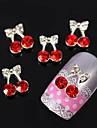 10st körsbär rosett bowknot 3d strass legering nail art dekoration