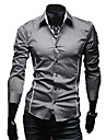 Shirt LangTuo Slim bord Tuyauterie causal manches longues (Gray)