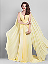 Formal Evening Dress - Daffodil Plus Sizes Sheath/Column V-neck Court Train Georgette