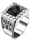 Bărbați Pentru femei Inele Afirmatoare Iubire Personalizat costum de bijuterii Teak Teracotă Diamante Artificiale Square Shape Geometric