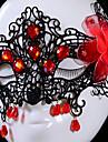 media cara hecha a mano de encaje negro con el diamante rojo y flor de halloween fiesta de la mascara