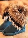 Chaussures Femme - Decontracte - Noir / Bleu / Jaune - Talon Plat - Bottes de Neige - Bottes - Daim
