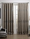 Room Darkening Silver Jacquard Linen Polyester Blend Curtain