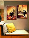 Stretched Canvas Art The Tango At Night Decoration  Set of 2