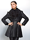 Long Sleeve Detachable Shawl Collar Evening/ Office PU Coat With Buttons