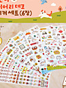 Pretty Cartoon Cat Pattern Scrapbooking Stickers(Random Color,6 PCS)