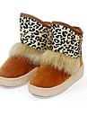 kvinnors skor snö låg klack flockas stövlar med leopard skriva ut fler färger