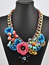 Women\s Crystal Gem Flower Pattern Necklace