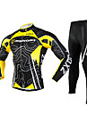 FJQXZ Men\'s Cycling Jersey + Tights Long Sleeves 3D Slim Cut Curve Breathable  Cycling Suit - Yellow + Black