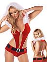 Röd Furry Kvinnors Christmas gymnastikdräkt