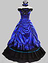 Sleeveless Floor-length Blue Satin Cotton Aristocrat Lolita Dress