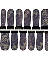 12PCS Purple Rose Pattern Watermark Nail Art Stickers C7-004