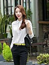 Mulheres Camisa Formal Simples Primavera / Outono / Inverno,Solido Branco Poliester Colarinho de Camisa Manga Longa Media
