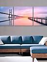 e-FOYER toile tendue es le fleuve et le pont peinture decoration ensemble de trois