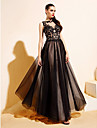 Evento Formal / Festa de Gala Black-Tie Vestido - Brilho & Glitter / Transparente / Costas Lindas Linha A / Princesa Canoa Longo Tule com