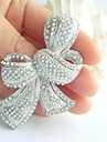 Women\'s Trendy Alloy Silver-tone Rhinestone Crystal Bowknot Wedding Bridal Brooch