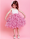 Ball Gown Tea-length Flower Girl Dress - Satin Sleeveless Halter with Feathers / Fur