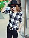 Women\'s Round Collar Korean Check T-shirt