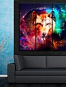 e-Home® sträckt duk konst underbara färgvarg dekorativt måleri uppsättning av 3
