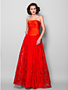 Lanting Bride® Corte en A Talla Grande / Pequena Vestido de Madrina Hasta el Suelo Sin Mangas Encaje / Saten Estirado - Encaje /