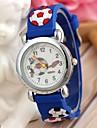 børns sport stil fodbold silikone rem kvarts armbåndsur blå (1 stk)