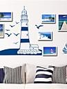 stickers muraux autocollants de mur, voile bleu salubre&mouettes muraux PVC autocollants