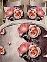 bedtoppings couette couverture couette couette 4pcs definir la taille de reine plat drap taie 3d motif aleatoire imprime fleur de tissu en microfibre