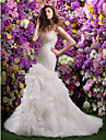 Lanting Bride Fit & Flare Wedding Dress-Court Train Sweetheart Organza