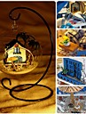 mini diy egeiska miniatyr trä dockskåp med LED röststyrning i glaskulan