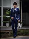 albastru inchis brodate tuxedo slim fit din poliester