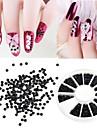 1200 st 2mm manikyr pärla plana halvcirkulära boxed Black Pearl nail art dekorationer