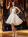 lanting는 몸집이 작은 A 라인 / 공주 신부 / 플러스 웨딩 드레스 무릎 길이의 연인 레이스 크기