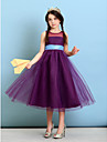 Lanting Bride Tea-length Tulle Junior Bridesmaid Dress A-line / Princess Jewel with Sash / Ribbon
