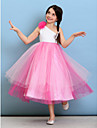 Lanting Bride Tea-length Tulle Junior Bridesmaid Dress Ball Gown One Shoulder with Flower(s)
