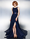TS Couture® Prom / Formal Evening / Black Tie Gala Dress - Furcal Plus Size / Petite A-line Jewel Sweep / Brush Train Chiffon with Split Front