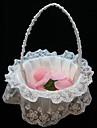 elegante cesta de flores em cetim branco e rendas flor menina cesta