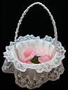 Elegant Flower Basket In White Satin and Lace Flower Girl Basket